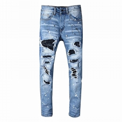 High Quality Heavy Material Stretchable Ripped Skinny Fit Men Jeans