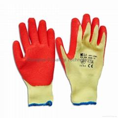 Orange color latex coated gloves