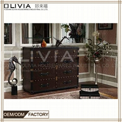 Full Half Leather PU Cabinet With Drawers Decorative