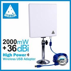 Ralink3070 chipset,802.11N wifi usb adapter,2000mW high power,36dBi gain antenna