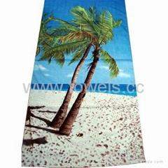 纯棉割绒活性印花沙滩巾