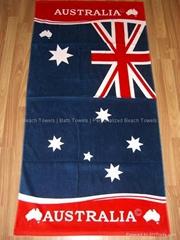 纯棉割绒活性印花国旗沙滩巾