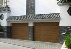 木纹翻板车库门|车库门安装维修|仿木纹色翻板车库门