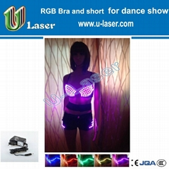 RGB led luminous sexy led bra with shorts for party