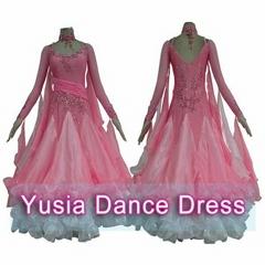 Custom Standard Competition Latin Pink Ballroom Dance Dresses