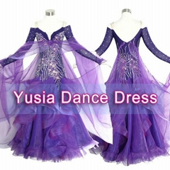 Silk Purple Big hem Womens Standard competition dresses