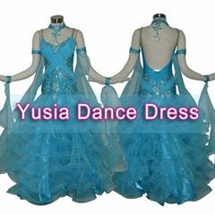 Long flared Cake shape Blue Kids Childrens Ballroom dresses for competition use