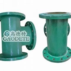 供應新疆地區輸油用鋼襯聚氨酯七通管件
