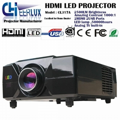 home cinema projector with analog TV & 2200 lumens & high resolution for games
