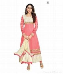 Party Pink, white Georgette Salwar Kameez