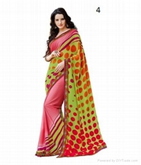 Fashion Pink Printed Georgette Saree