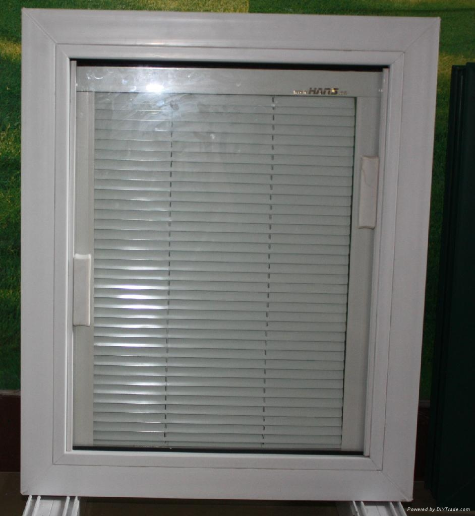 Double Glazing Product : Double glazing pvc window with shutter built in glass