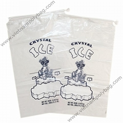 Drawstring plastic bag with cotton tie