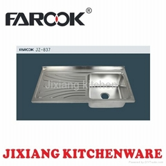 one piece single bowl stainless steel sink