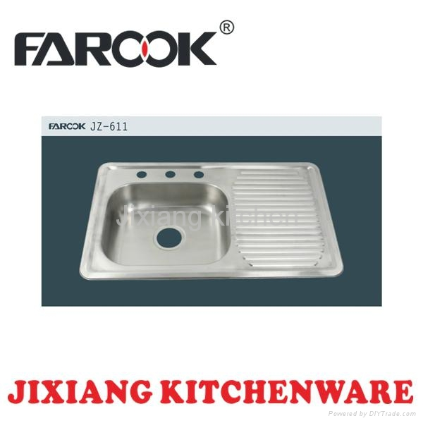 Layon single bowl kitchen stainless steel sink with drainboard 1