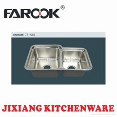 deep double bowl stainless steel kitchen sink