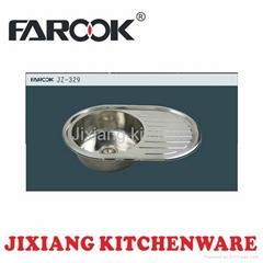 round single bowl kitchen sink with drainboard JZ-329