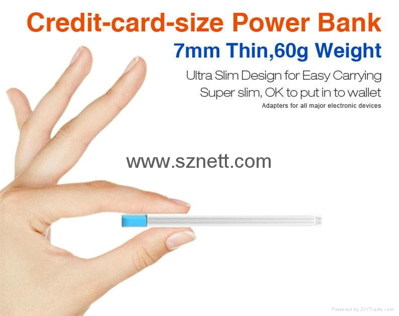 Credit Card shaped Ultra Thin 2.1A USB Fast Charging Portable Power Bank 4