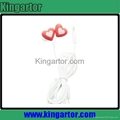 35mm jack red heart silicon earphone for