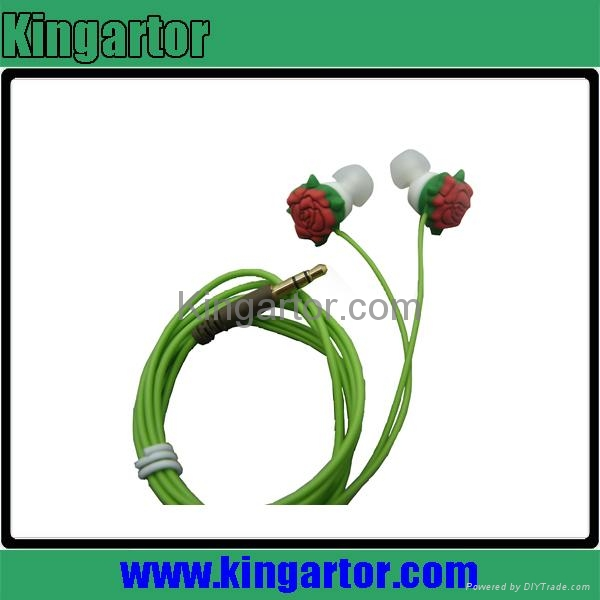 2013 newest rose shaped silicone earphone with customized design 3