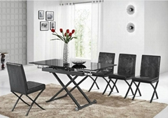 Pull-out metal glass dining table