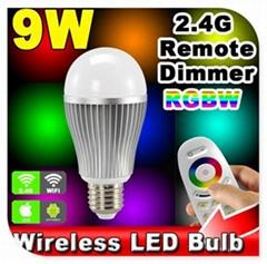 64,000 Different Colors 2.4G Remote Controlling RGBW RGBWW E27 LED Light Bulb 9W