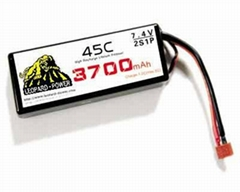 High rate Leopard Power lipo battery for RC models 3700mah-2S-45C