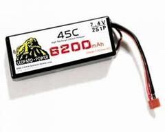 High rate Leopard Power lipo battery for RC heli 6200mah-2S-45C