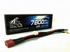 High rate Leopard Power lipo battery for RC models,racing car 7600mah-2S2P-100C