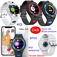 4G Round Screen Senior Healthcare GPS Watch Tracker with Fall Down Detetion D48