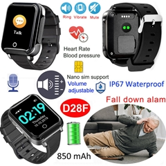 Fall Alarm 850mAh Smart Gift Watches Elderly GPS Tracker with Blood Pressure