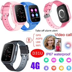 New 4G/LTE IP67 Waterproof Kids GPS Watch Tracker with Removal Take off Alarm