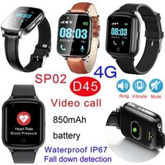 4G IP67 Waterproof Senior GPS Tracker Watch with Fall Down Alert