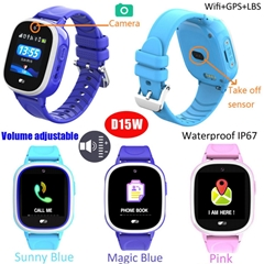 Colorful Screen Waterproof Kids GPS Tracker Watch with Take off Alarm