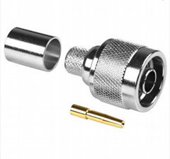 RP N Male crimp connector for LMR400/RG8 cables