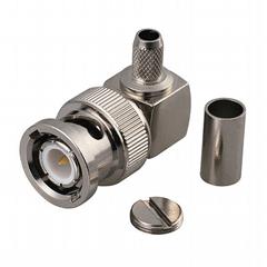 50 Ohm BNC Crimp Plug, Right Angle for RG174, 188, 316 Cable