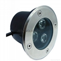 LED 圓形地埋燈 3W  85-265VAC DC12V 24V 紅光 藍光 綠光 RGB七彩 全彩  白光  3