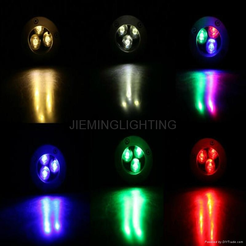 LED 圓形地埋燈 3W  85-265VAC DC12V 24V 紅光 藍光 綠光 RGB七彩 全彩  白光  4