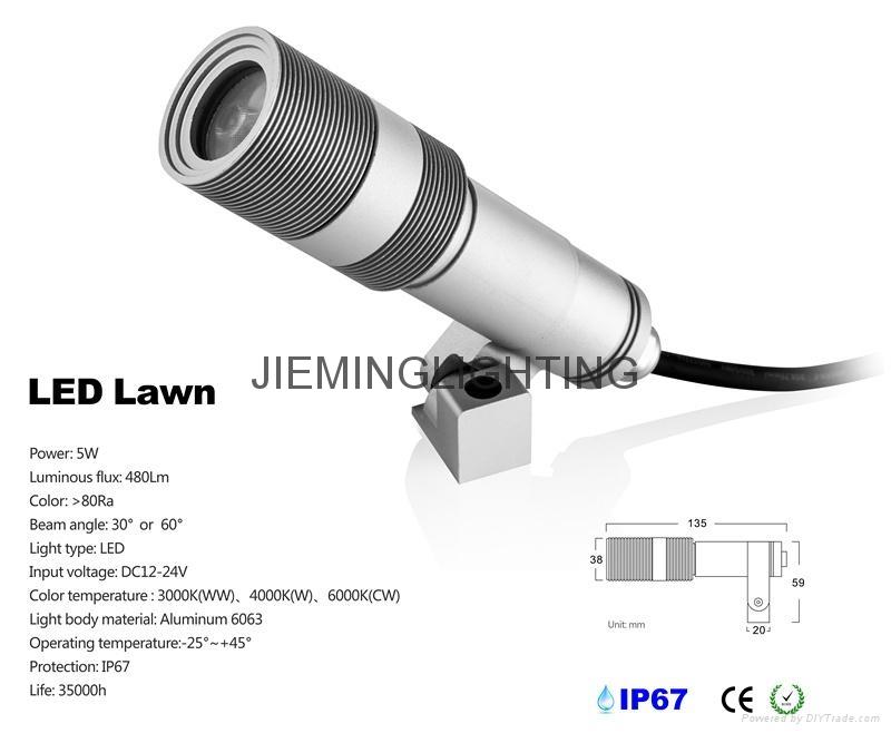 户外5W投光射灯防水喷泉鱼缸射灯LED草坪灯低压12VLED墙壁投光灯 2