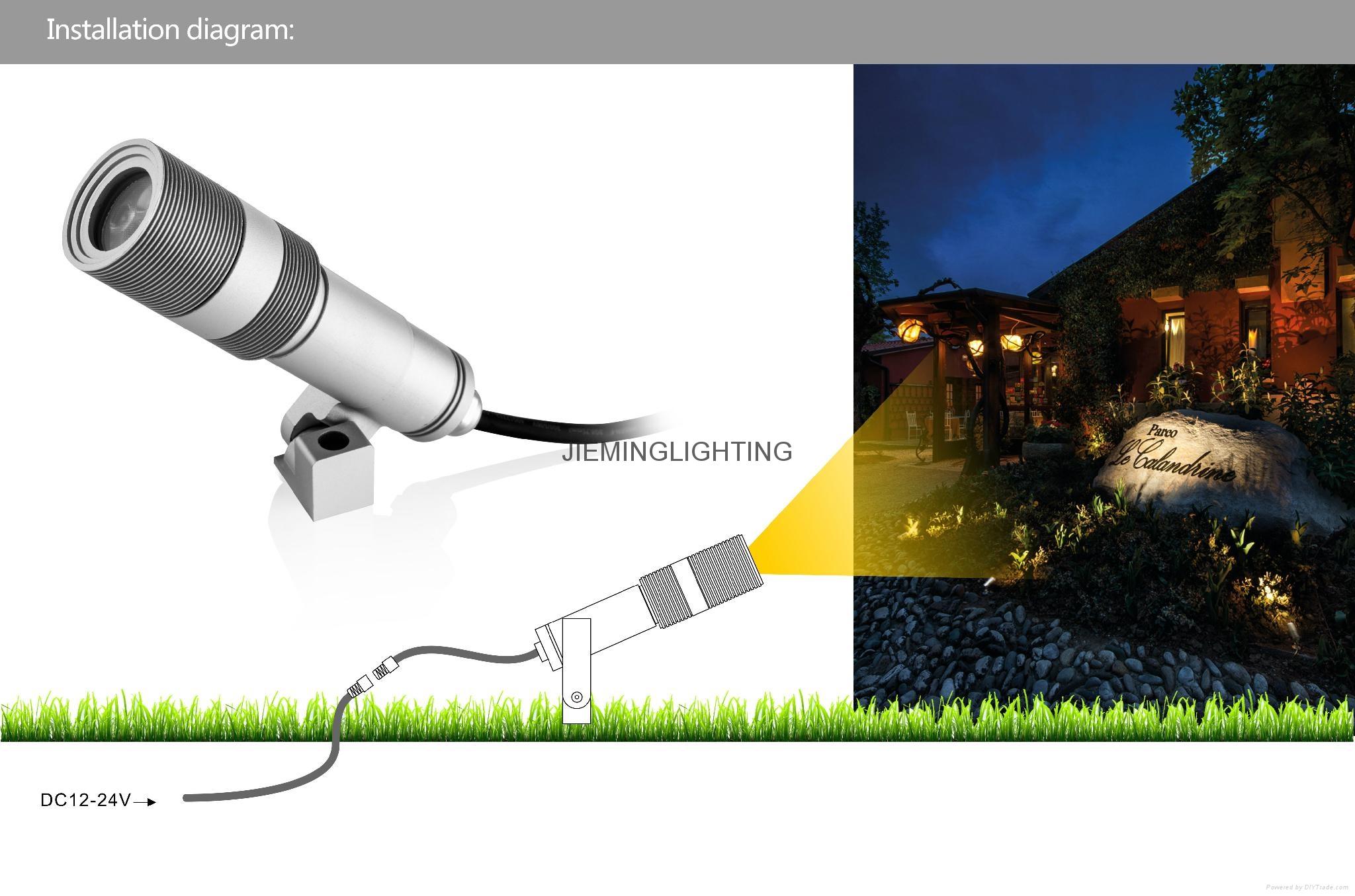 户外5W投光射灯防水喷泉鱼缸射灯LED草坪灯低压12VLED墙壁投光灯 4
