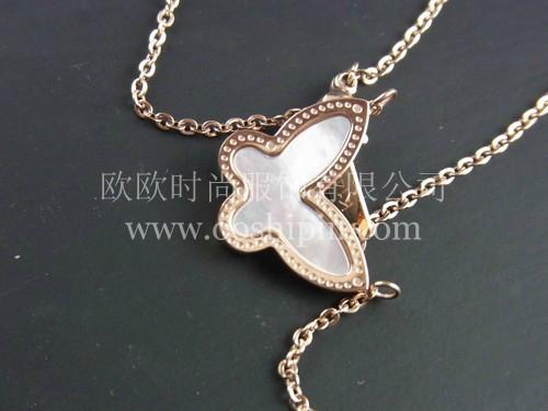 精緻貝殼鑲嵌蝴蝶項鏈 1