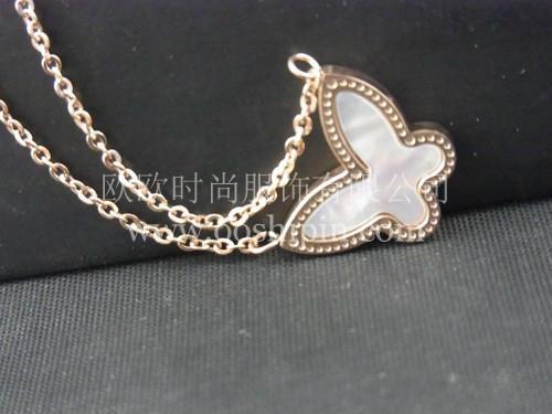 精緻貝殼鑲嵌蝴蝶項鏈 2