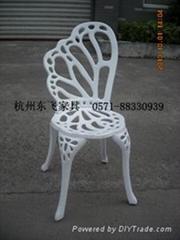 白色蝴蝶铸铝桌椅