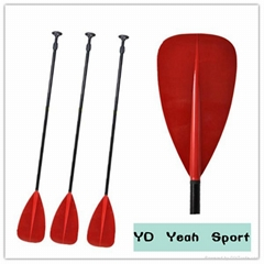 Translucent fiberglass paddle with adjustable shaft