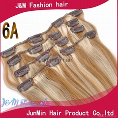 5A grade 100% virgin remy hair clip on hair extension