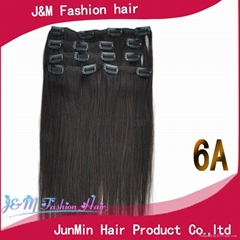 Any color t 5a grade 100% remy hair clip in human hair extensions