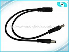 Heavy Duty CCTV Power Connector , 2 Way Cable Splitter