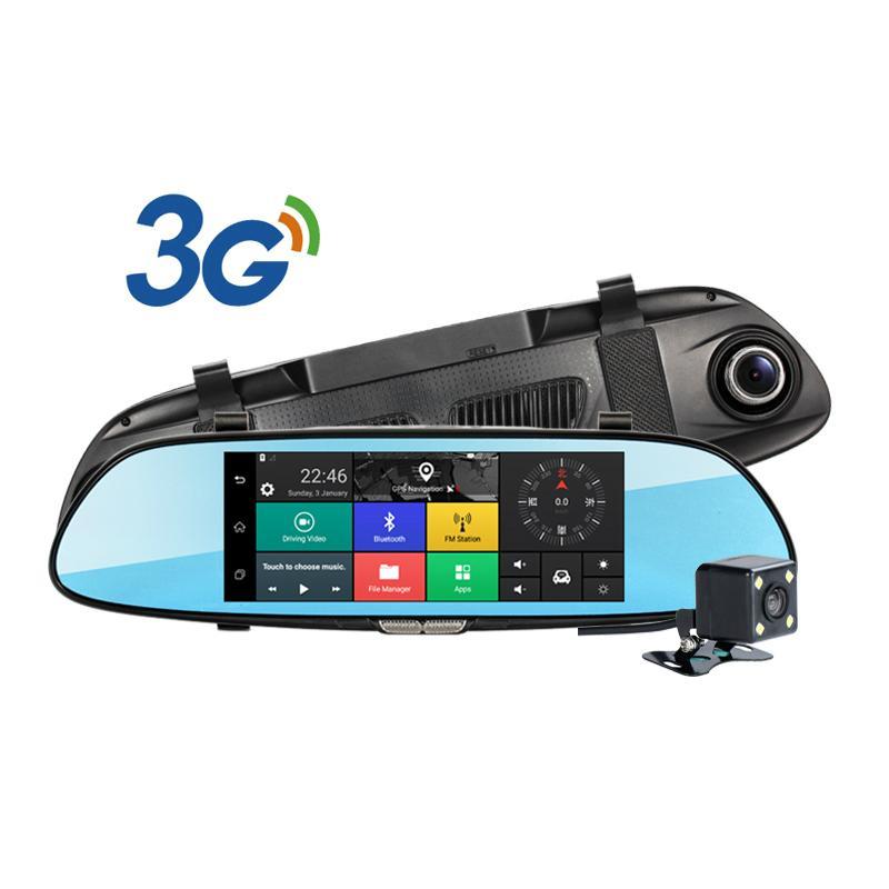 C08 7'' Touch Screen Dashcam Car Dual Rearview Camera Car DVR 3G Android GPS Das 1