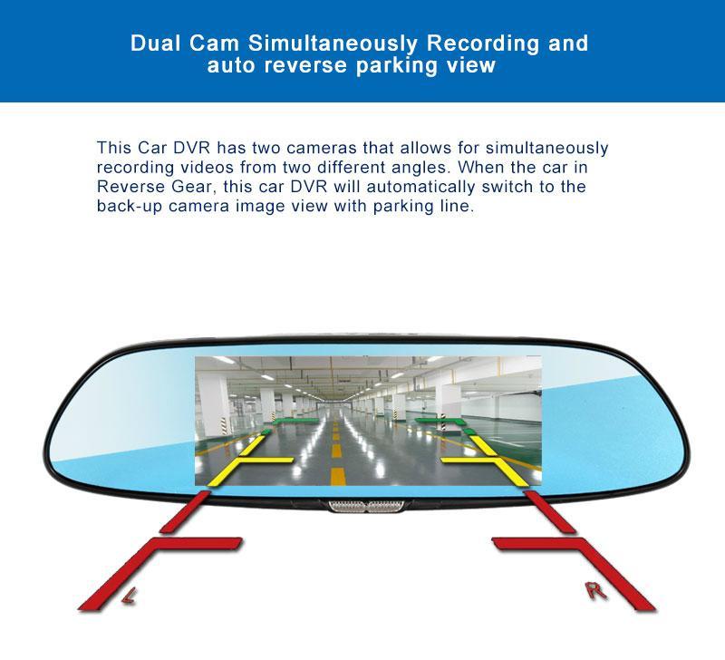 C08 7'' Touch Screen Dashcam Car Dual Rearview Camera Car DVR 3G Android GPS Das 5