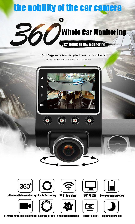 X360 Car DVR Dash Camera 1080P 360 Degree View Angle Dashcam Video Recorder Blac 1